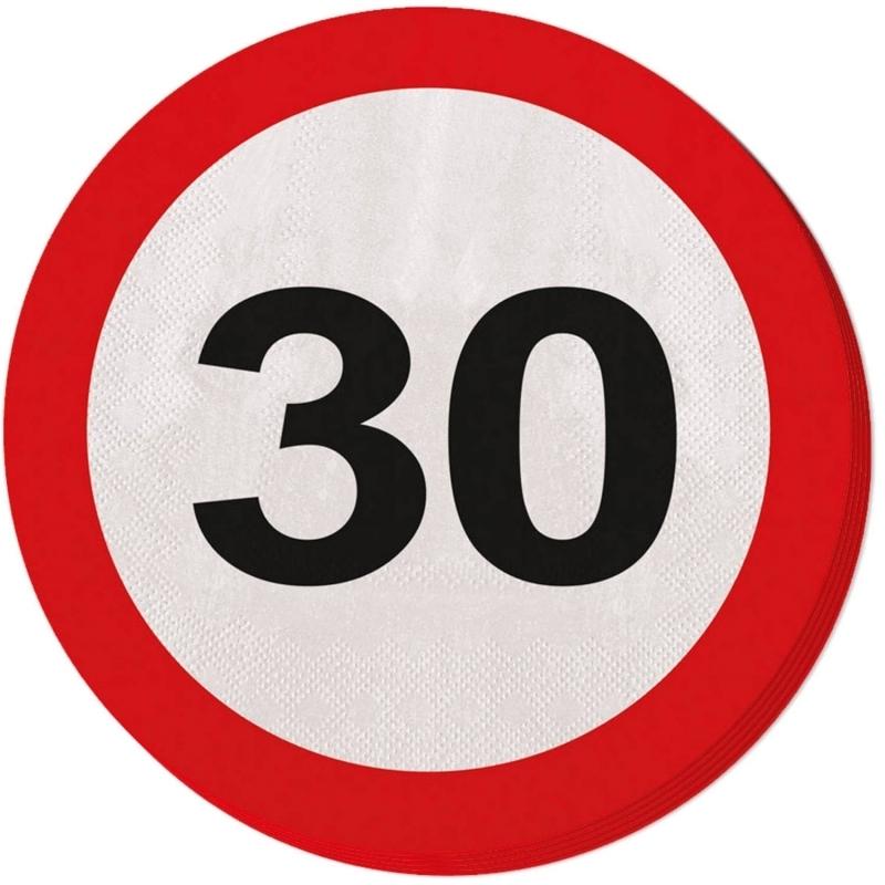 30. Geburtstag Verkehrsschild Servietten