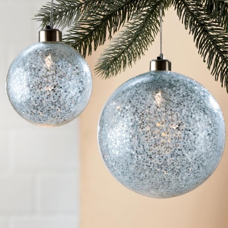 4-er Set Weihnachtskugel Glitter mit LED
