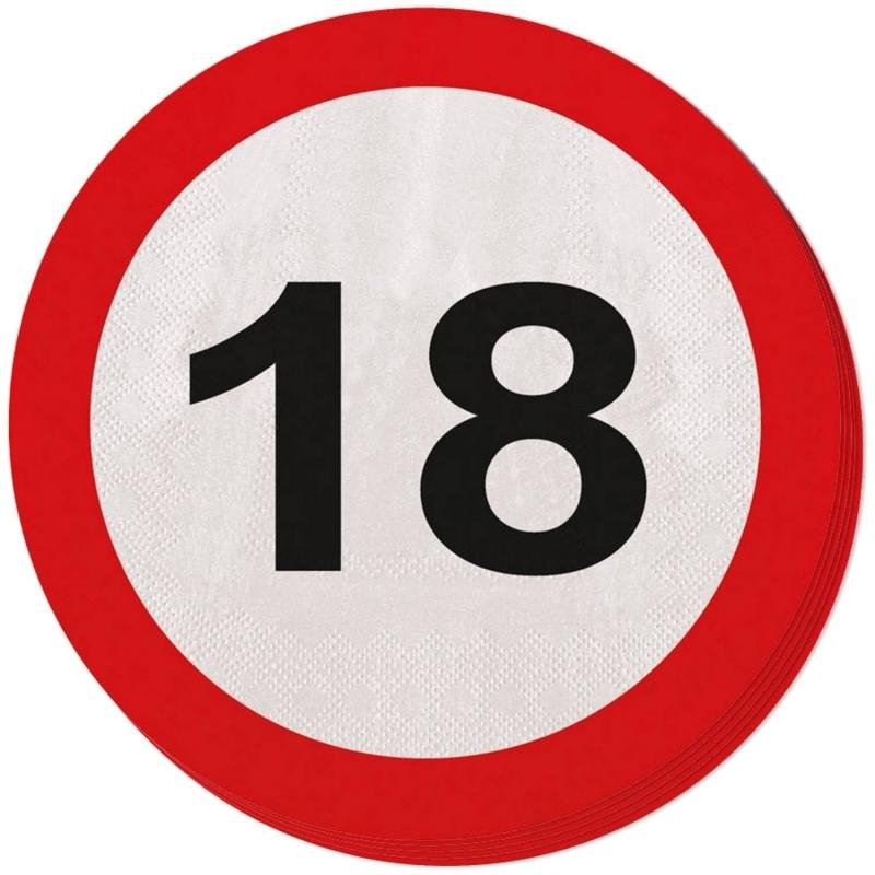 18. Geburtstag Verkehrsschild Servietten