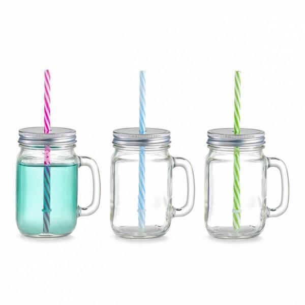 4-er Set Trinkglas mit Henkel und Strohhalm Countrystyle